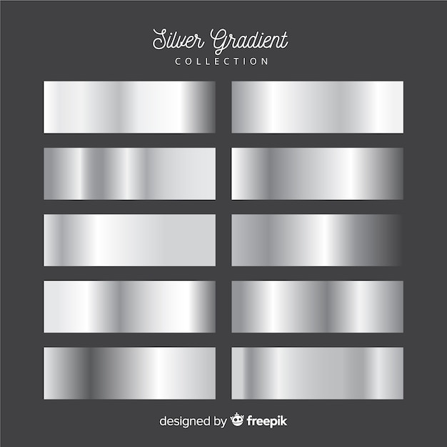 Metallic texture silver gradient set Free Vector