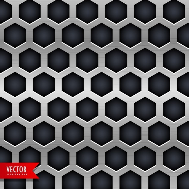 Metallic texture with black hexagons Free Vector