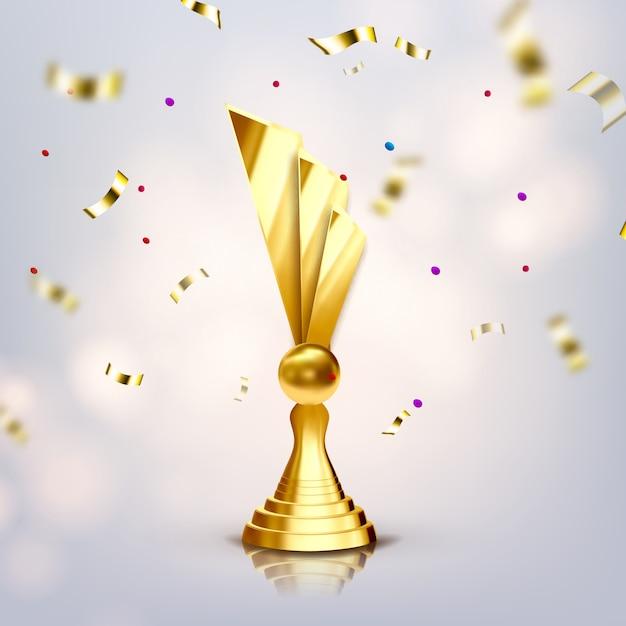 Metallic trophy cup Premium Vector