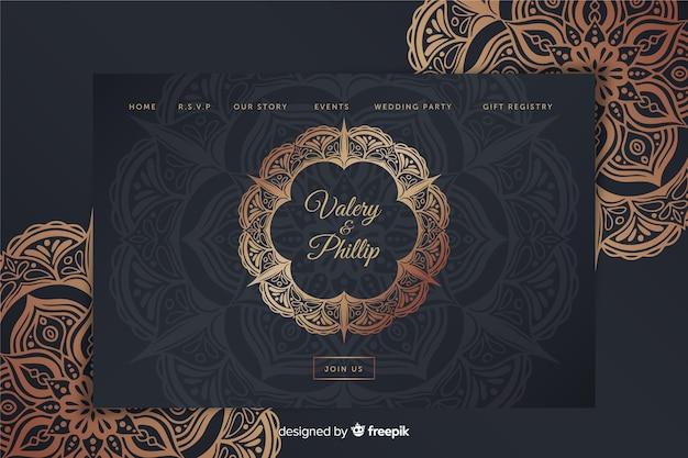 Metallic wedding landing page template Free Vector