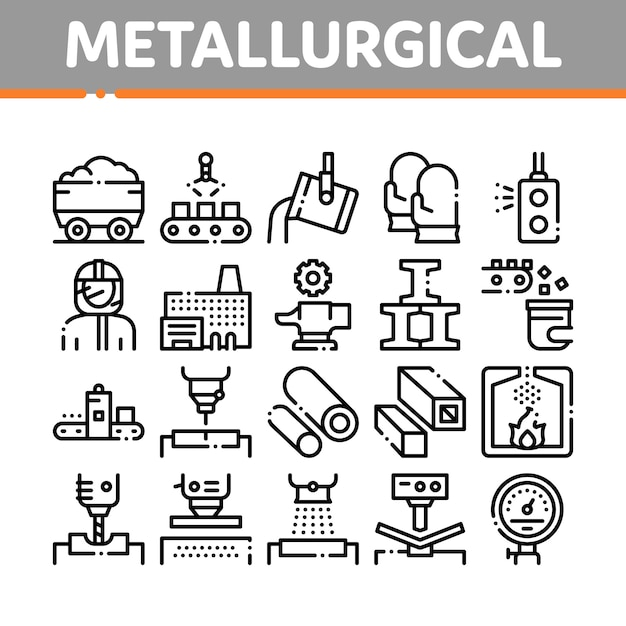 Metallurgical collection elements icons set Premium Vector