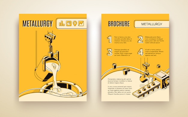 Metallurgical industry company, foundry manufacture isometric vector advertising brochure Free Vector