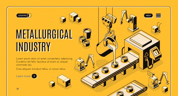 Metallurgical industry technologies isometric vector web banner Free Vector