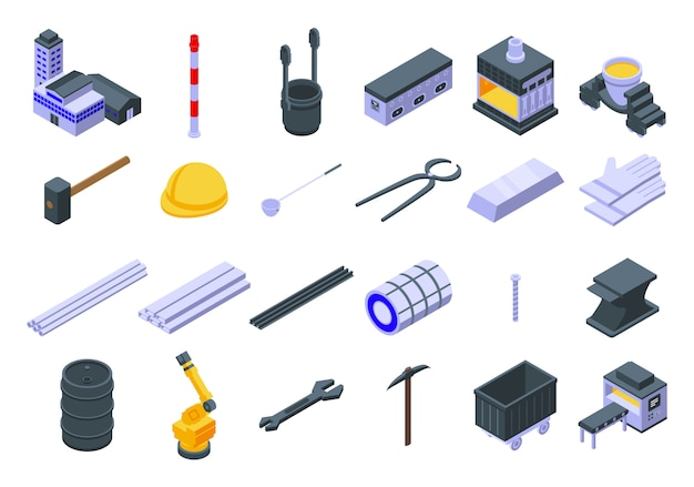 Metallurgy icons set, isometric style Premium Vector