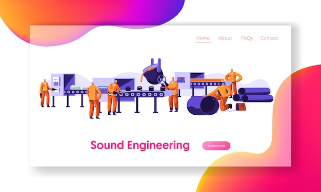 Metallurgy industry working process landing page template Premium Vector