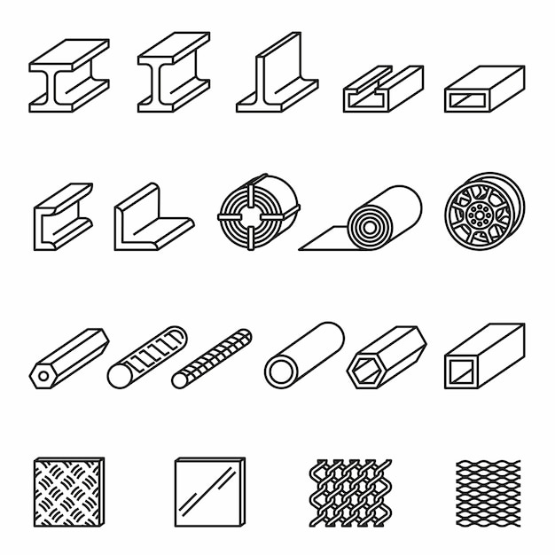 Metallurgy products line icons set with white background. steel structure and pipe. Premium Vector