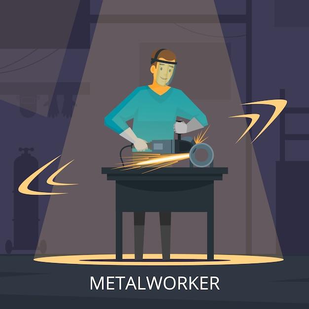 절단 및 연마 금속 작업장을 형성하는 금속 세공인 생산 공정 무료 벡터
