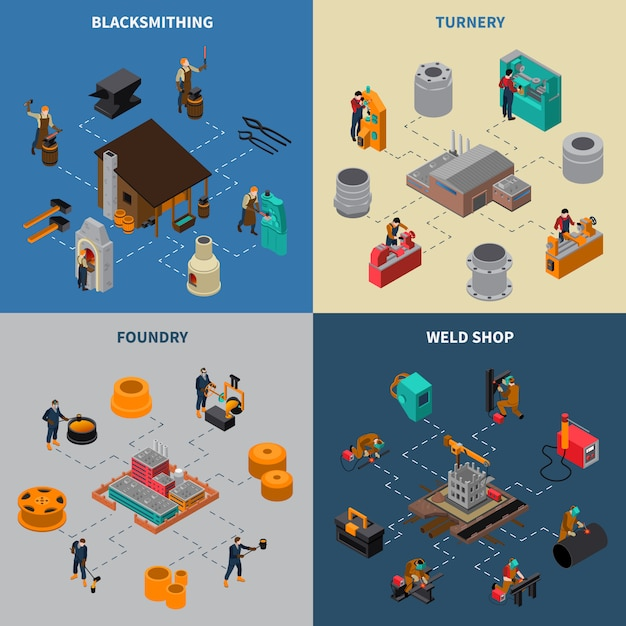 Metalworking 4 isometric icons square poster Free Vector