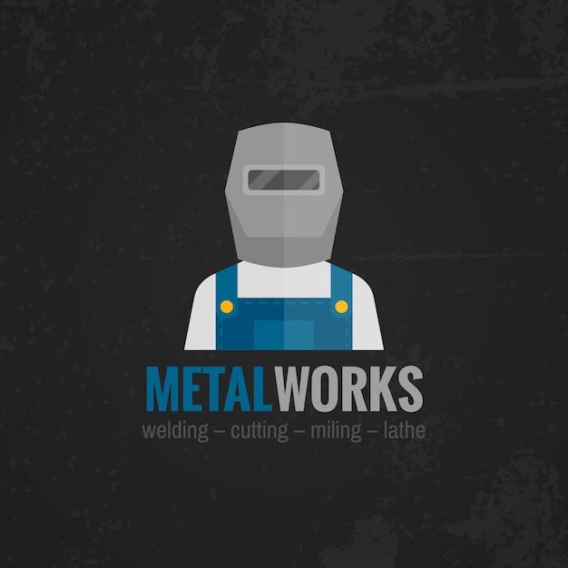 Metalworking banner flat Premium Vector