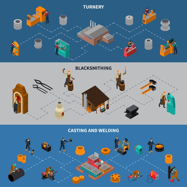Metalworking process isometric infographic banners set Free Vector