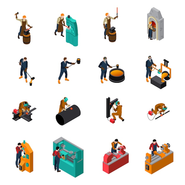 Metalworking tools machinery isometric icons collection Free Vector