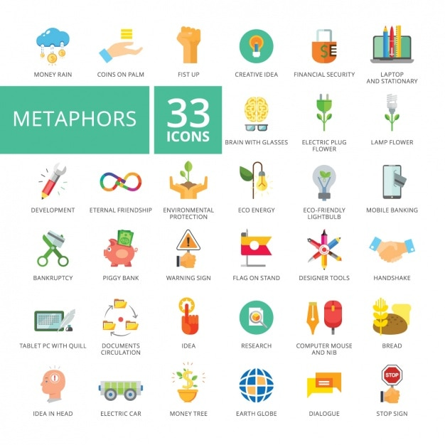 Metaphor icons collection Free Vector