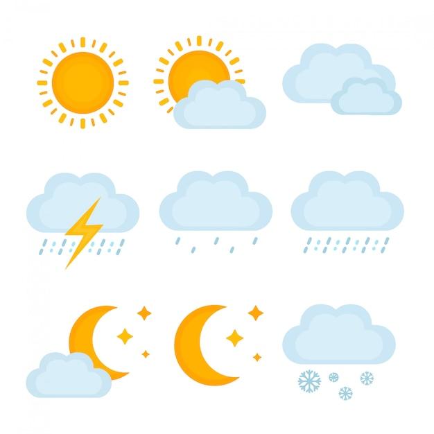 天気予報、metcastの兆候。ベクトルモダンなフラットスタイル漫画イラストアイコン。分離されました。太陽、雲、雨、雷、雪 Premiumベクター