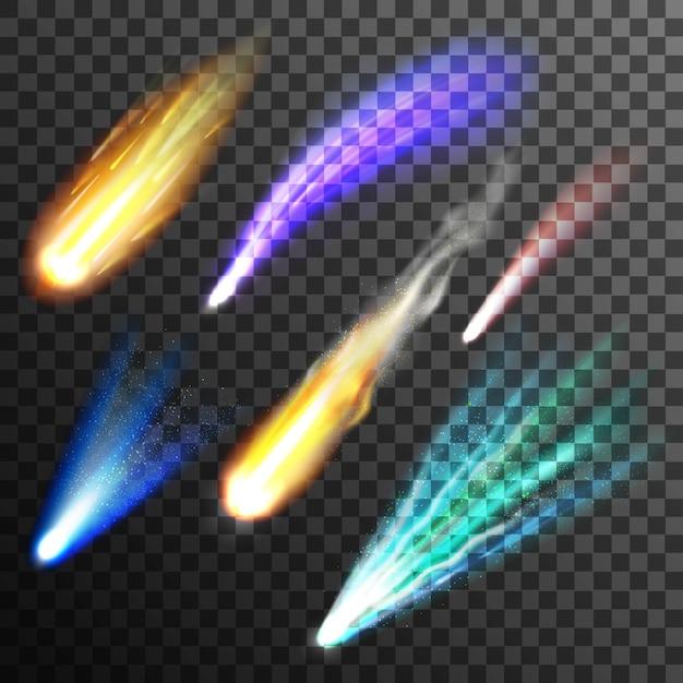 Метеор и набор комет Бесплатные векторы