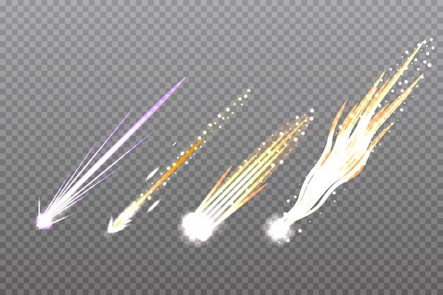 Meteor,comet or rocket trails Premium Vector