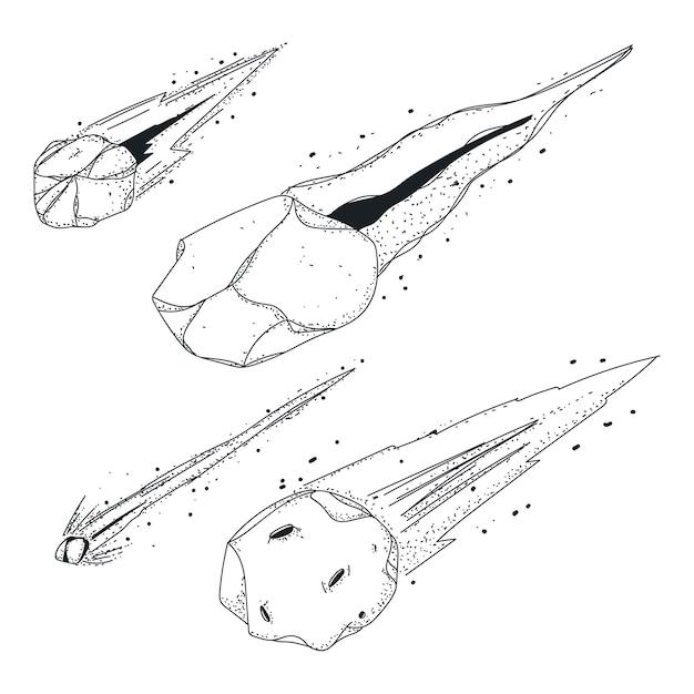 Метеор набрасывает векторные иконки эскиз, изолированные на белом пространстве. Premium векторы