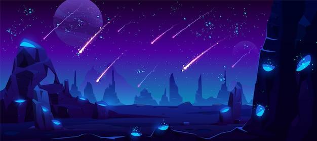 Meteor rain at night sky, neon space illustration Free Vector