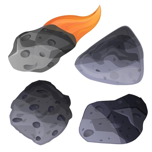 Meteorite icon set, cartoon style Premium Vector