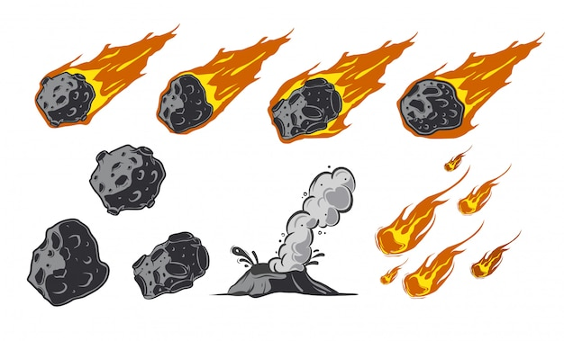 Meteors collection with falling comets. Premium Vector