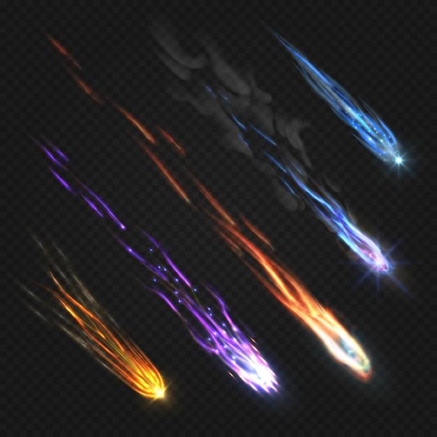 Meteors comets and fireballs Premium Vector