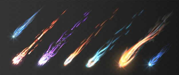 Meteors and fireballs with fire trails Premium Vector