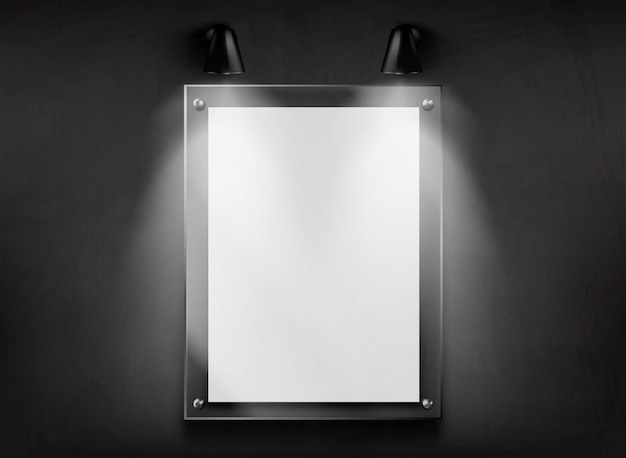 Methacrylate plate glass frame on wall realistic vector Free Vector
