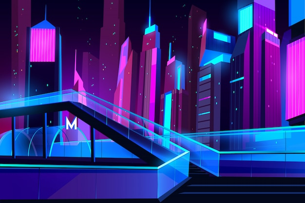 Metro entrance in night city with neon illumination Free Vector
