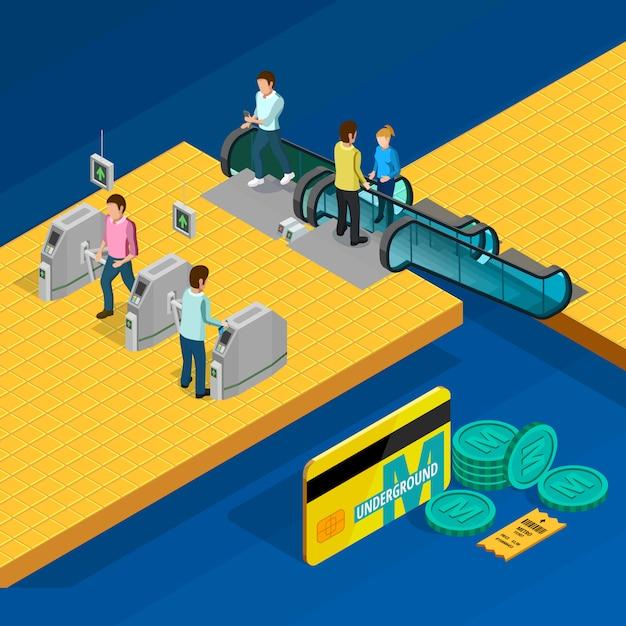 Metro isometric design concept Free Vector