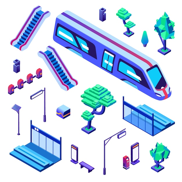 Metro train station illustration of isolated icons. underground or subway railway Free Vector