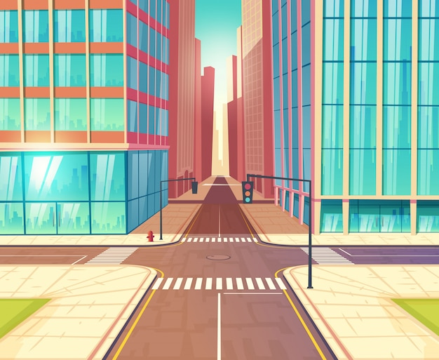 Metropolis crossroads, streets crossing in city downtown with two-lane road, traffic lights and sidewalks near skyscrapers buildings cartoon vector illustration. urban transport infrastructure Free Vector
