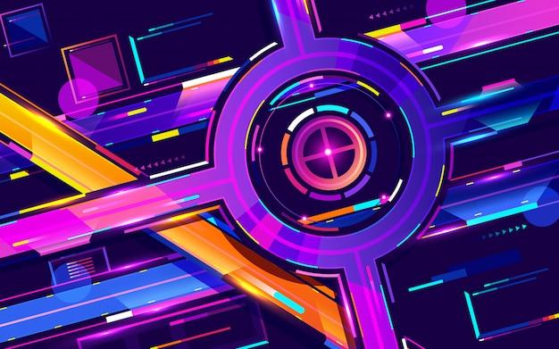 Metropolis night freeway neon colors, top view cartoon vector Premium Vector