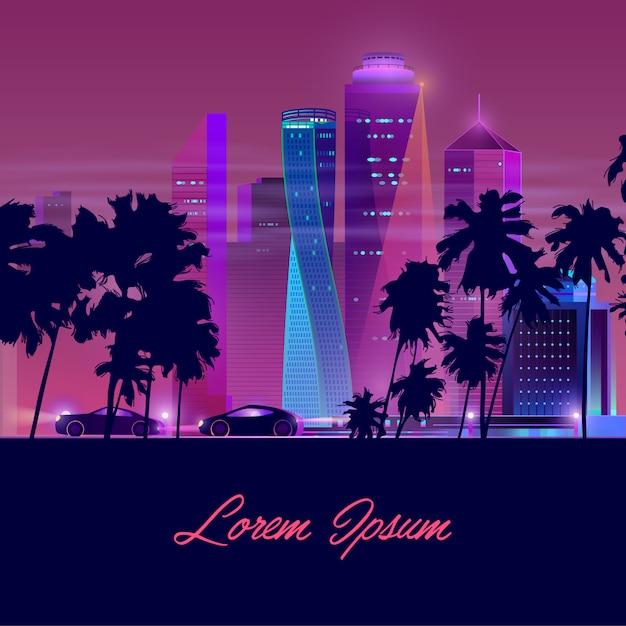 Metropolis nightlife neon cartoon vector banner Free Vector