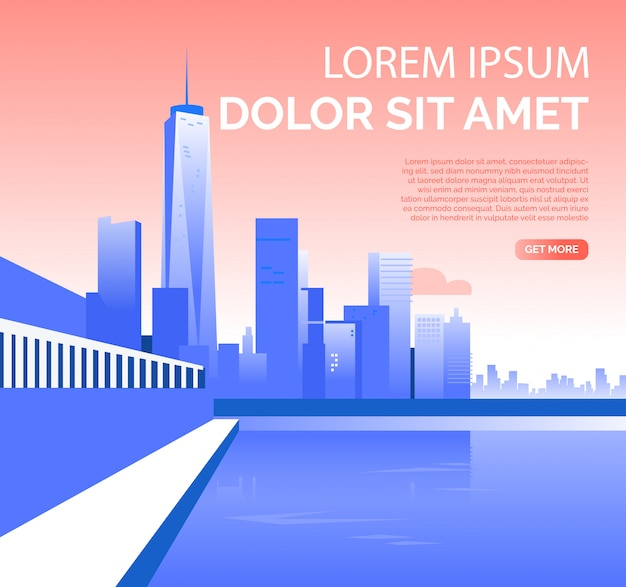 Metropolis with skyscrapers and sample text Free Vector