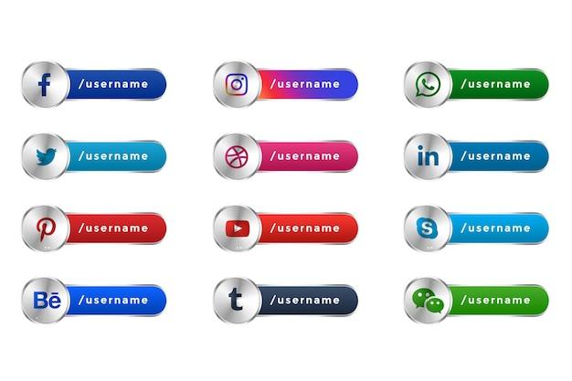 Mettalic social media icone popolari web banner terzo inferiore Vettore gratuito