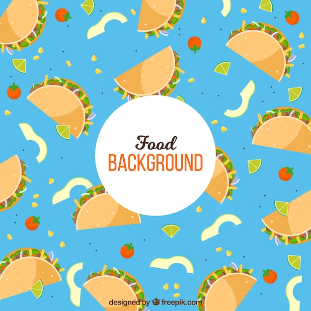 Mexiacan food background with flat design Premium Vector