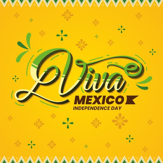 Mexic independence day lettering Free Vector