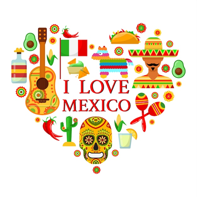 Mexican attributes in shape of heart on white backgrounds Premium Vector