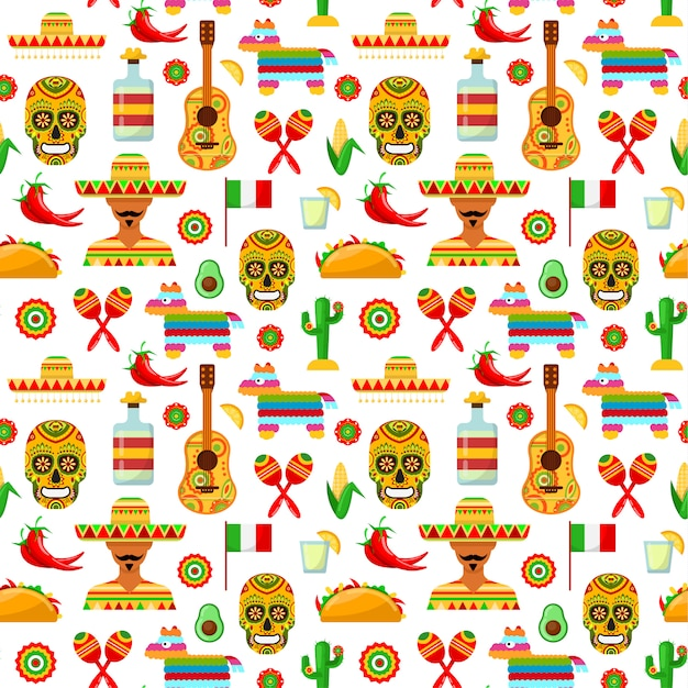Mexican attributes on white backgrounds Premium Vector