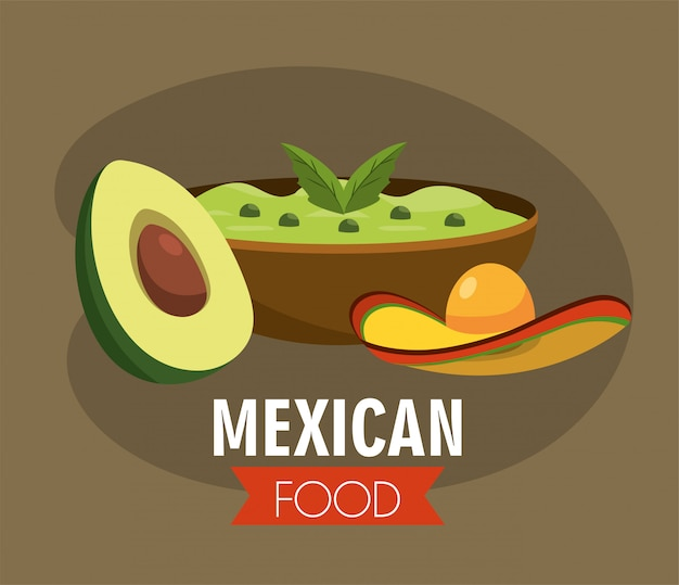 Mexican avocado sauce with traditional hat Premium Vector