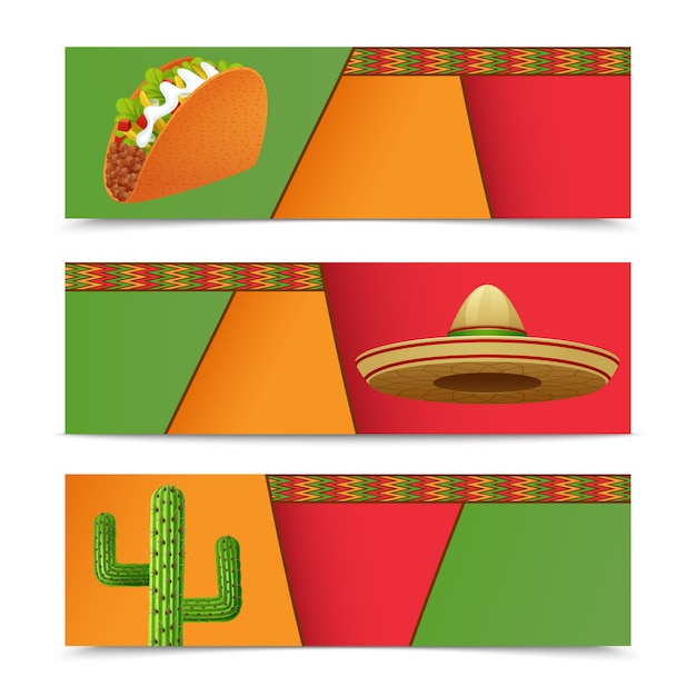Mexican banners horizontal set with taco sombrero cactus isolated vector illustration Free Vector