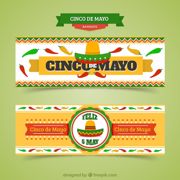 Mexican banners of cinco de mayo Free Vector