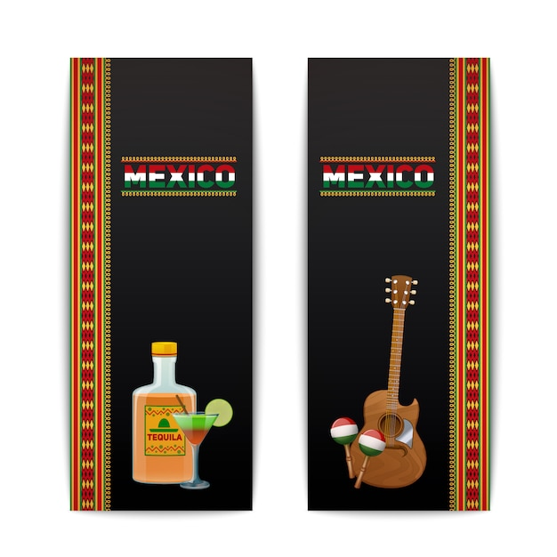 Mexican banners vertical set with tequila cocktail maraca and guitar isolated vector illustration Free Vector