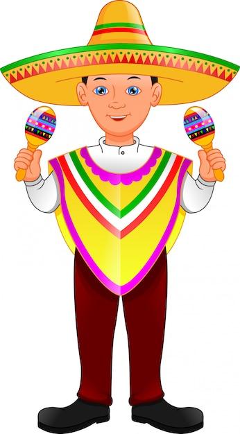 Mexican boy in poncho and sombrero holding maracas Premium Vector