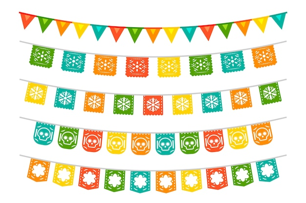 Mexican bunting collection Free Vector