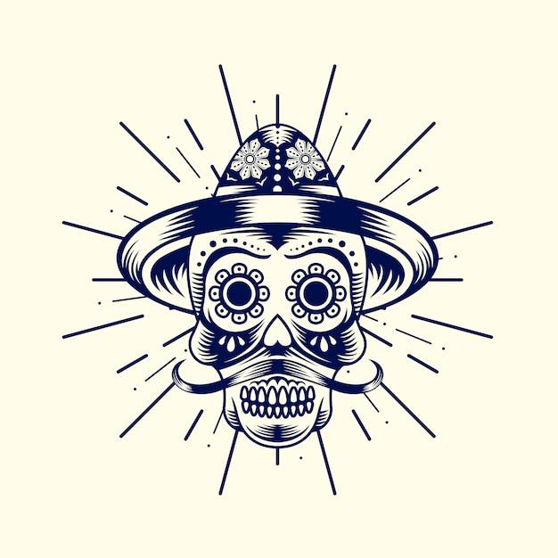 メキシコのカラカヘッドのロゴ Premiumベクター