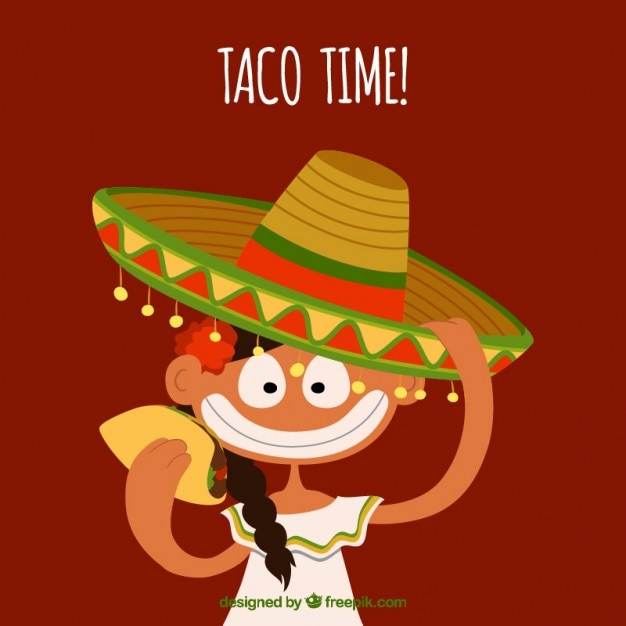 Mexican in cartoon style Free Vector