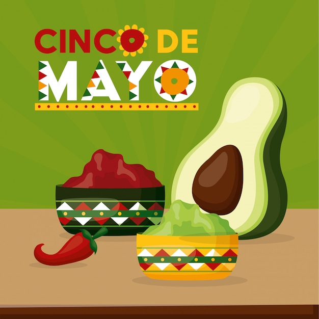 Mexican celebration with avocado and chili pepper and food Free Vector