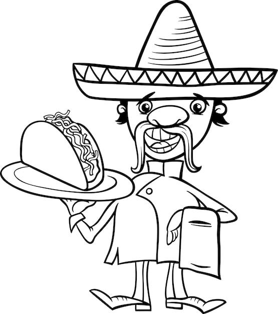 Мексиканский шеф-повар со страницей окраски тако Premium векторы