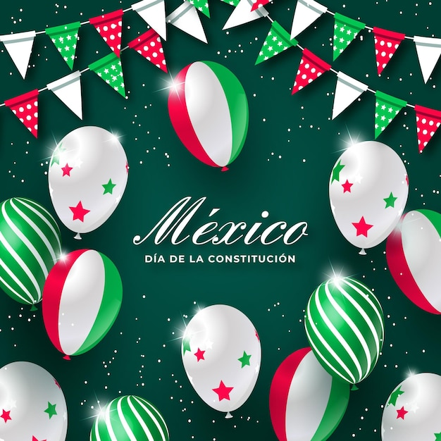 Mexican constitution day balloons Free Vector