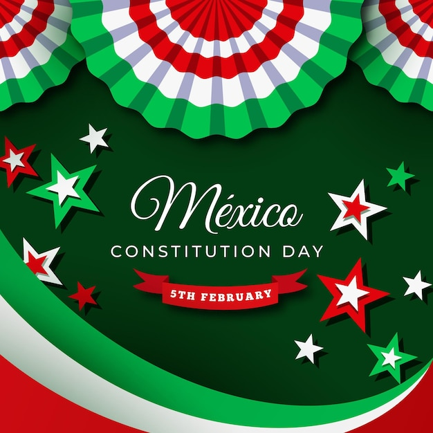 Mexican constitution day event Free Vector
